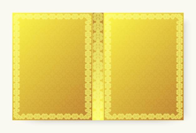 Copertina vintage dorata con cornice ornamentale