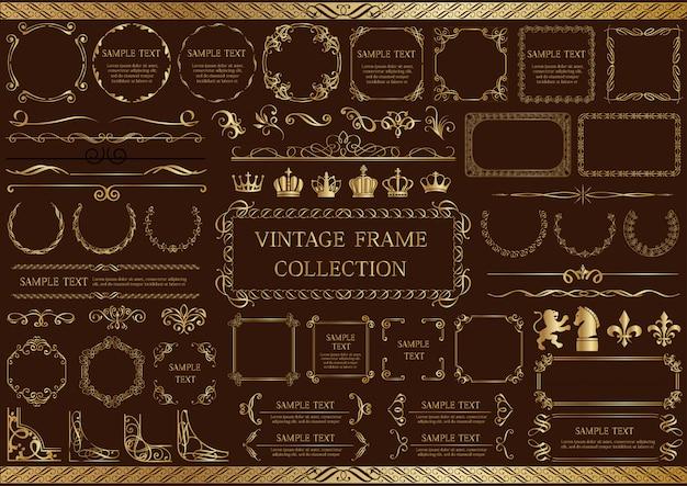 Set cornice oro vintage isolato su uno sfondo scuro.