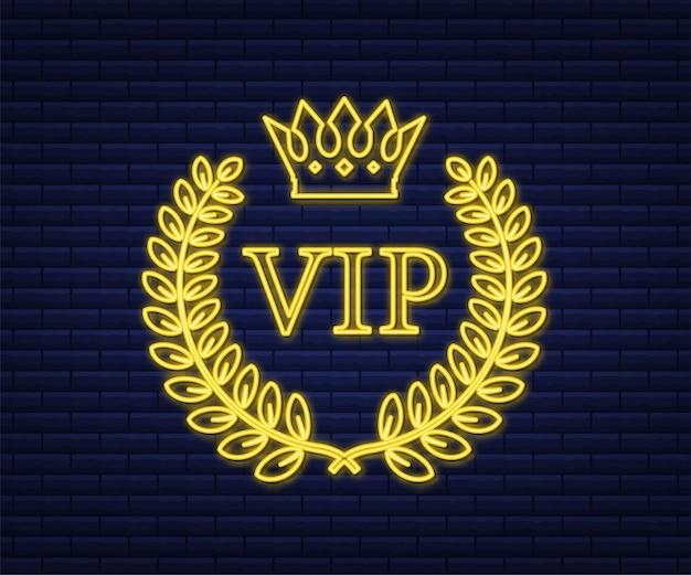 Insegna al neon di etichetta gold vip su sfondo nero. illustrazione di riserva di vettore.