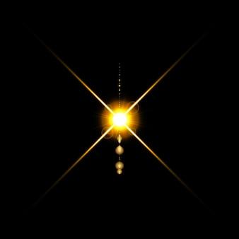 Il bagliore luminoso dell'obiettivo di colore caldo oro lampeggia per le transizioni.