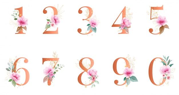 Numero floreale dell'acquerello d'oro. con decorazioni botaniche e glitter.