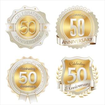 Distintivo di anniversario d'oro e bianco