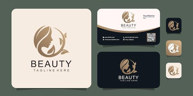 Concetto di logo di bellezza del salone del fronte della donna dell'oro