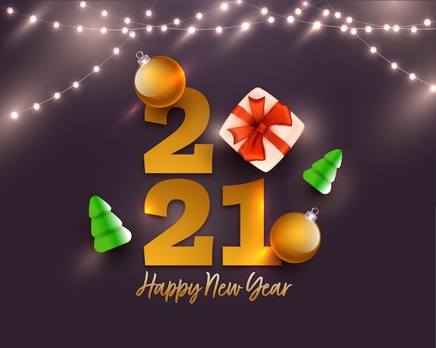 Testo di felice anno nuovo 2021 dorato con confezione regalo realistica