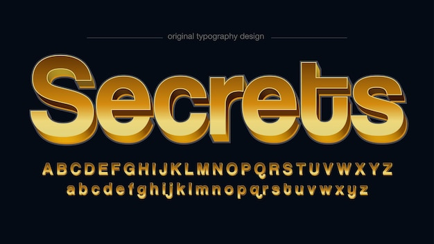 Tipografia dorata 3d sans serif