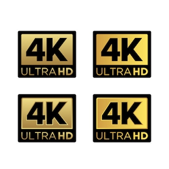 Logo dorato dell'icona di risoluzione dei video ultra hd 4k