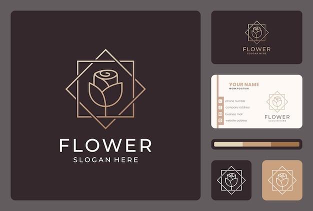 Linea astratta dorata fiore logo design con biglietto da visita.