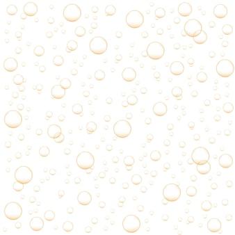 Bolle d'aria dorate di champagne, soda, spumante, bevanda gassata. sfondo astratto con fizz di ossigeno. illustrazione realistica di vettore.