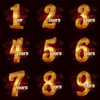 Set di numeri anniversario d'oro. celebrazione del logo 3d con particelle scintillanti di polvere di stelle scintillanti a spirale d'oro.