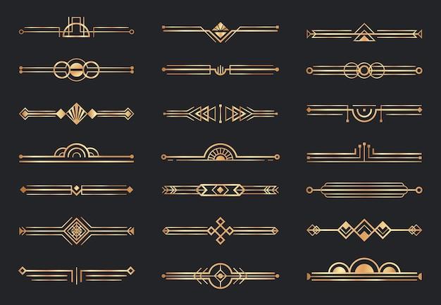 Divisori art deco dorati. bordo geometrico decorativo, divisori in oro retrò e set di elementi decorativi di lusso degli anni '20.