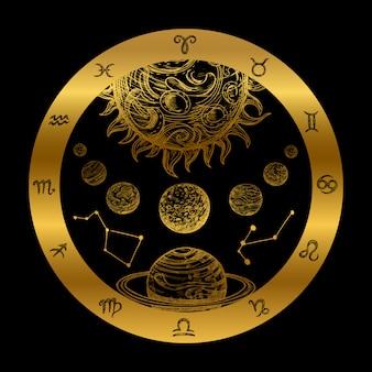 Illustrazione dorata di astrologia