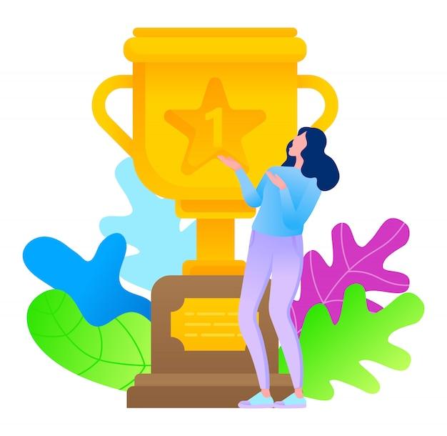 Premio d'oro con fogliame e donna in stile piatto felice di ottenere il trofeo