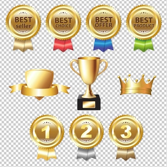Golden awards gradient mesh, illustrazione