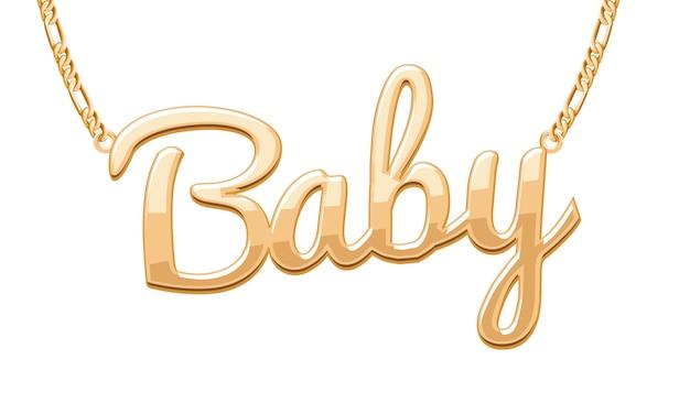 Ciondolo parola baby dorato su collana a catena. gioielleria .