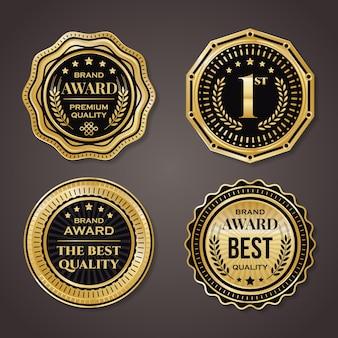Collezione di badge d'oro. elegante nero e dorato