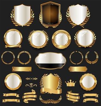 Etichette distintivo dorato e collezione vintage retrò di alloro