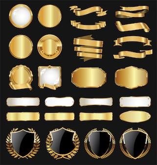 Collezione vintage retrò distintivo dorato e alloro