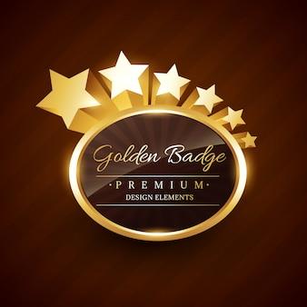 Etichetta premio distintivo d'oro con stelle che scorre