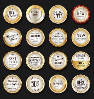 Collezione vintage retrò distintivo dorato