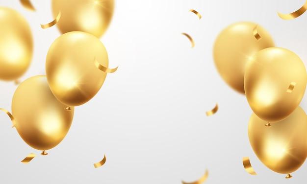 Palloncini festivi sfondo dorato celebrazione palloncini illustrazione in formato vettoriale