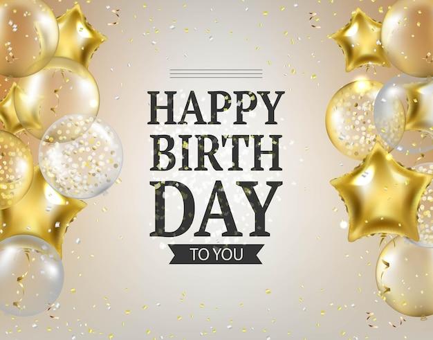 Scheda di compleanno di palloncini e coriandoli d'oro