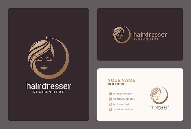 Design del logo di capelli di bellezza dorata con modello di biglietto da visita.