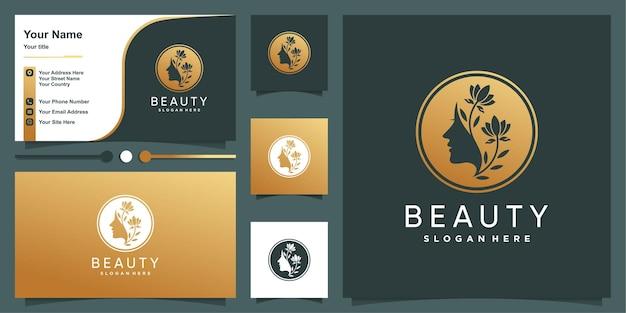 Modello di logo di bellezza dorata e design biglietto da visita