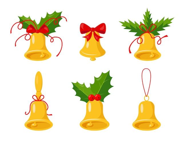 Collezione golden bells isolata. campane di natale