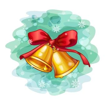 Campane d'oro su un fiocco rosso
