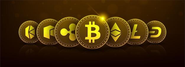 Golden bitcoin tecnologia blockchain 3d concetto adatto per la futura tecnologia banner oo copertura