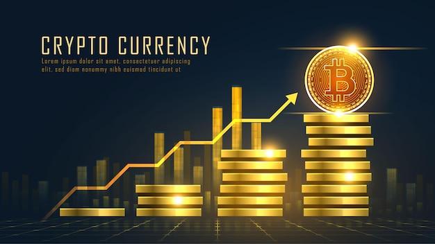 Golden bitcoin blockchain concetto di tecnologia