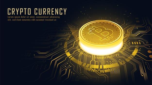 Concetto isometrico della tecnologia blockchain dorata di bitcoin adatto per la tecnologia futura