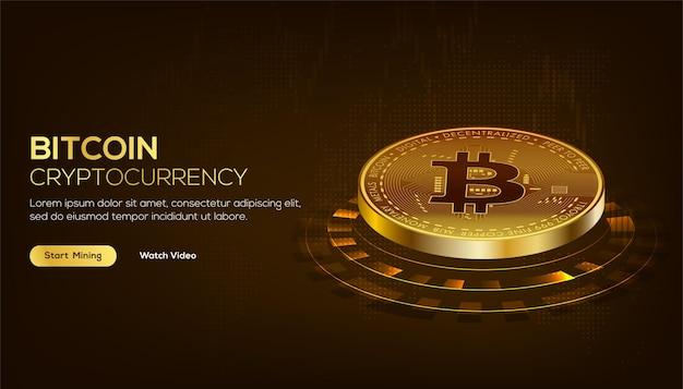 Concetto isometrico della tecnologia blockchain dorata di bitcoin