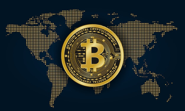 Valuta digitale bitcoin dorata sulla mappa del mondo, denaro digitale futuristico,