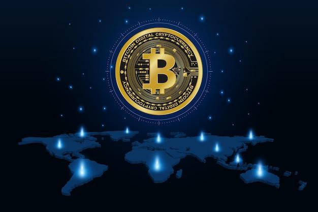 Valuta digitale bitcoin dorato sulla mappa del mondo, denaro digitale futuristico,