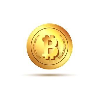 Bitcoin dorato su bianco