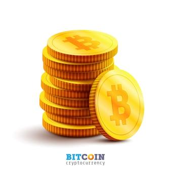 Bitcoin dorati e nuovo concetto di denaro virtuale. pila di monete d'oro con icona lettera b. tecnologia di mining o blockchain per criptovaluta