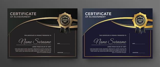 Disegno del modello di certificato nero dorato.