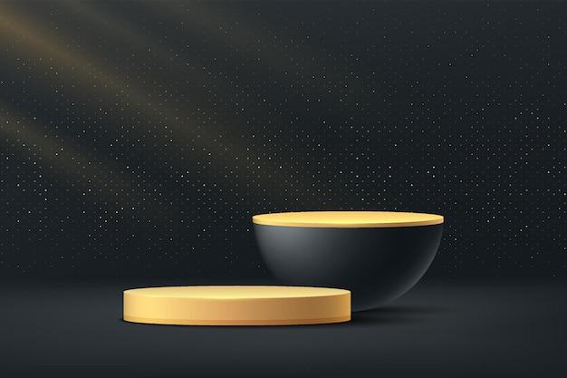 Podio piedistallo cilindrico dorato e nero piattaforma forma geometrica glitter oro lucido parete minimale 3d