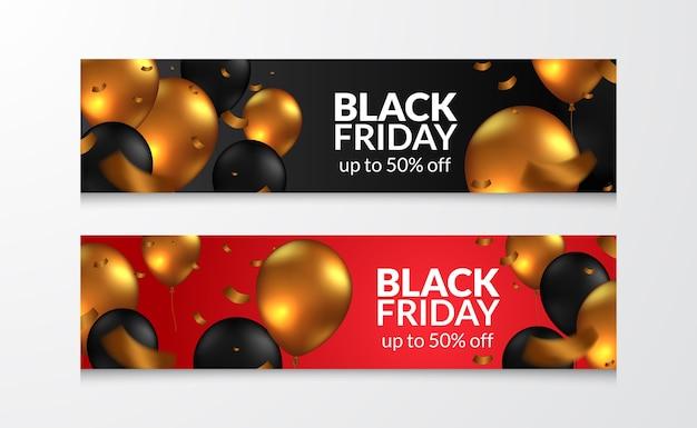 Festa in mongolfiera volante d'oro e nero per la celebrazione del modello di banner di offerta di vendita venerdì nero