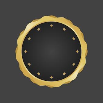 Vettore di modello distintivo metallico di lusso dorato e nero.