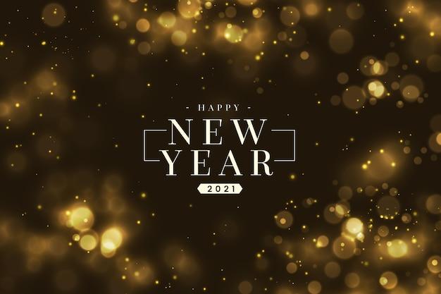 Felice anno nuovo sfocato dorato 2021