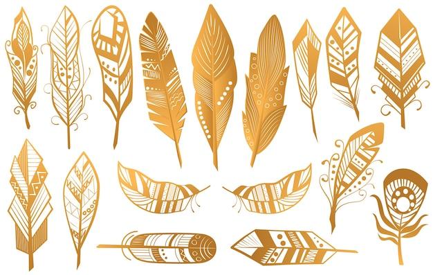 Set di design di piume tribali di lusso etnico dorato boho
