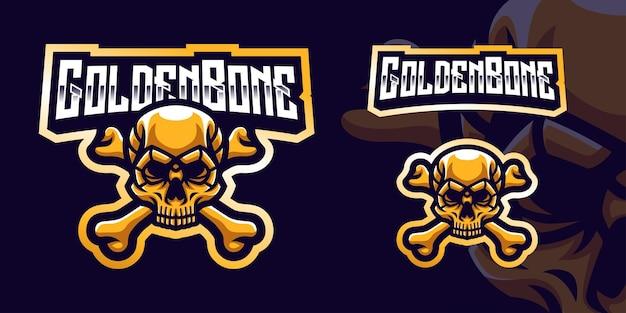 Logo della mascotte da gioco golden bone skull per esports streamer e community