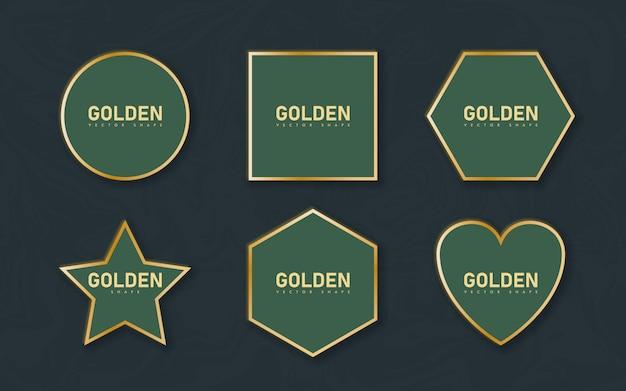 Cornice bordo dorato con ombra leggera e effetti di luce. decorazione in oro in stile minimal. elemento grafico in lamina metallica a forma di rettangolo geometrico sottile.