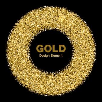Cornice dorata brillante cerchio incandescente. emblema dell'oro dei gioielli logo concept. illustrazione