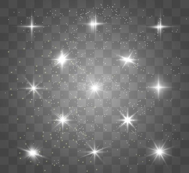 Stella luminosa dorata. stella luminosa effetto luce. bella luce per illustrare.