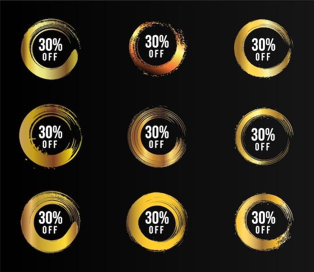 Banner di vendita pennello dorato con sfondo nero