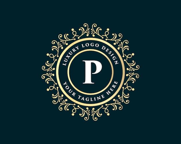 Monogramma calligrafico floreale dorato disegnato a mano stile vintage antico design di lusso logo con corona adatto per ristorante dell'hotel caffetteria caffetteria spa salone di bellezza boutique di lusso cosmetica e arredamento