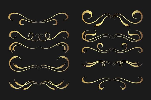 Collezione di ornamenti calligrafici dorati